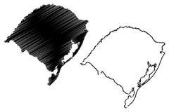 南里奥格兰德州地图传染媒介 向量例证