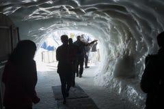 南针峰冰隧道 库存图片