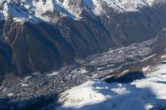 从南针峰的夏慕尼 库存图片