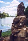 南门向吴哥城在柬埔寨 图库摄影