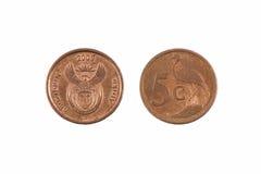 南非五分硬币 免版税库存照片