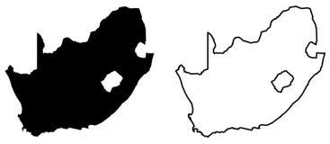 南非传染媒介图画仅简单的锋利的角落地图  库存例证