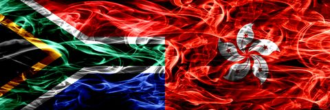 南非对香港,中国烟旗子肩并肩安置了 概念和想法旗子混合 库存例证