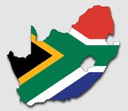 南非的地图,充满国旗 库存图片