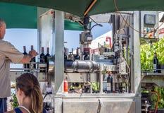 南非酒:室外自动装瓶专线 流动马赫 免版税图库摄影