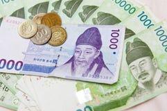 南韩文的货币 库存图片