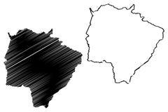 南马托格罗索地图传染媒介 库存例证