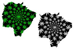 南马托格罗索州巴西,联盟的状态,巴西联邦共和国地图是被设计的大麻叶子绿色和黑色,马托 库存例证