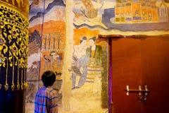 南,泰国- 9月2016 30日:一个人的著名壁画 库存图片