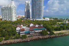 南Pointe公园迈阿密海滩的空中图象 免版税库存照片