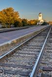 博伊西列车车库和轨道在秋天 免版税库存图片