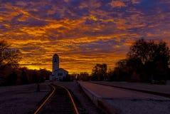 博伊西有严重的日出的列车车库 库存照片