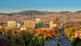 博伊西爱达荷在秋天的市地平线与资本 免版税库存照片