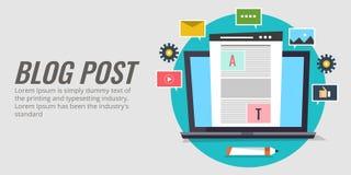 博克岗位,美满的出版物,与社区,数字式营销概念的通信 平的设计blogging传染媒介横幅 向量例证