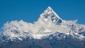 博克拉,尼泊尔:喜马拉雅山,在蓝天背景的Machapuchare摆尾  库存照片