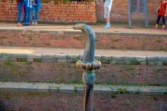 博克拉,尼泊尔- 2017年11月04日:关闭老生锈的古铜色蛇雕象接近寺庙位于博克拉 库存图片
