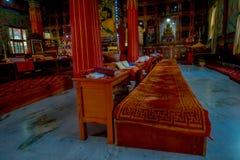 博克拉,尼泊尔- 2017年10月06日:祷告地方室内看法在大厦里面的在Thrangu塔石Choling修道院里 图库摄影