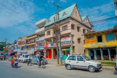 博克拉,尼泊尔- 2017年10月06日:西藏医疗中心三个地板大厦的室外看法位于尼泊尔的  库存照片