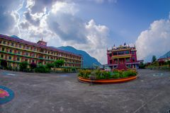 博克拉,尼泊尔- 2017年10月06日:西藏建筑学 萨迦派修道院是香客和游人目的地 其 图库摄影