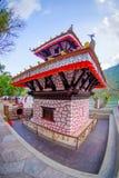 博克拉,尼泊尔- 2017年9月04日:Tal Barahi寺庙,位于Phewa湖的中心,是最重要的 免版税库存照片