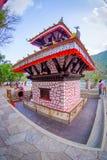 博克拉,尼泊尔- 2017年9月04日:Tal Barahi寺庙,位于Phewa湖的中心,是最重要的 库存照片