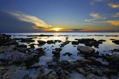 博内尔岛日落 库存照片