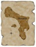 博内尔岛烧了映射羊皮纸 免版税库存图片