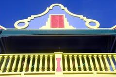博内尔岛的色的房子 免版税库存照片