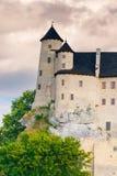 博博利采,波兰- 2017年8月13日:博博利采一座石中世纪城堡的垂直的照片小山的 库存照片