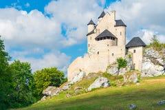 博博利采,波兰- 2017年8月13日:博博利采美丽的石中世纪城堡在波兰 库存照片