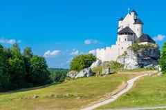 博博利采,波兰- 2017年8月13日:反对蓝天的波兰` s地标中世纪城堡博博利采 免版税库存照片
