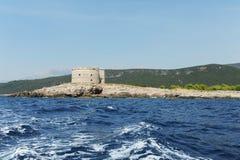 博卡队海湾的堡垒Mamula在亚得里亚海 图库摄影