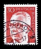 博士 H C 古斯塔夫・海涅曼(1899-1976),第3位联邦总统,serie,大约1971年 皇族释放例证
