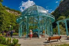 博尔若米,乔治亚- 2017年8月07日:著名矿泉水画廊 免版税图库摄影