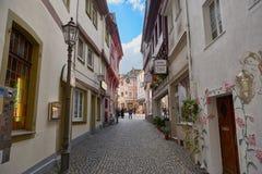 博帕尔德,德国- 2016年11月06日:主要市场地方可以直接地从莱茵散步被到达通过a 免版税库存照片