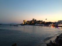 博德鲁姆海边日落 库存图片