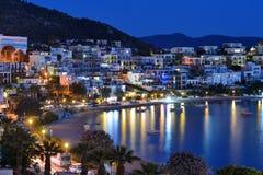 博德鲁姆,土耳其夜视图  库存照片