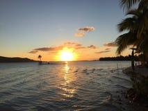 博拉博拉岛日落 库存图片