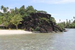 博拉博拉岛海岛海滩视图,法属玻里尼西亚,法国 库存照片