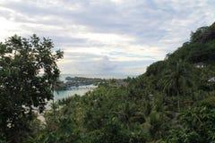 博拉博拉岛海岛自然视图,法属玻里尼西亚,法国 免版税图库摄影