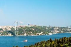 博斯普鲁斯海峡桥梁。 伊斯坦布尔。 土耳其 免版税图库摄影
