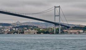 博斯普鲁斯海峡桥梁,伊斯坦布尔土耳其 库存照片