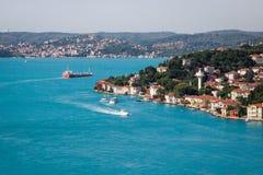 博斯普鲁斯海峡海峡的绿松石水的顶视图在伊斯坦布尔 图库摄影