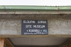 博物馆在Oldupai峡谷,坦桑尼亚的入口标志 免版税库存照片