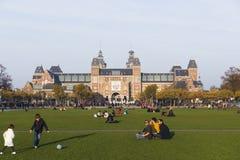 博物馆正方形在阿姆斯特丹秋天 免版税库存照片