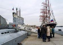 博物馆潜水艇的S-189队列 免版税库存图片