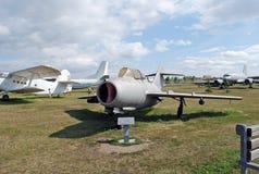 博物馆的展览苏联喷气机米格-15战斗机 免版税库存图片