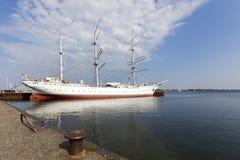 博物馆船在施特拉尔松德港口的Gorch Fock 免版税库存图片