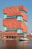 博物馆aan de沿河(MAS)的Stroom斯海尔德河位于  免版税库存照片