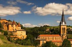 博若莱红葡萄酒风景 库存图片